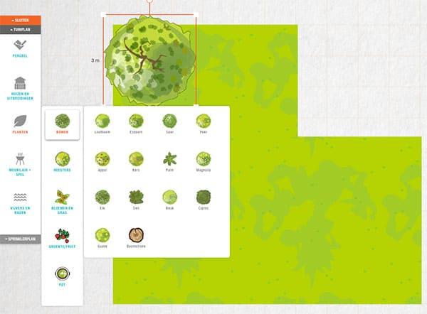 Voorbeeld van de Tuinplanner
