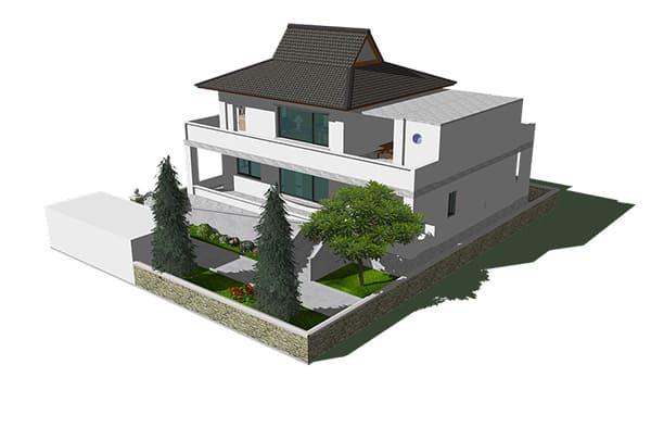Voorbeeld van tuinontwerp in SketchUp