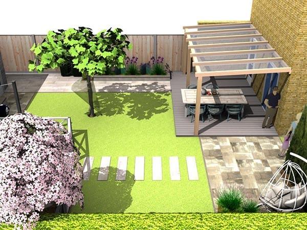 3D-Tuinontwerp van een tuin in Utrecht