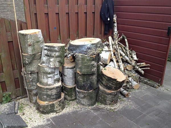 Afvalhout van boom kappen