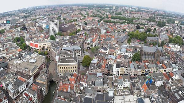 Uitzicht over de stad Utrecht met de Dom toren