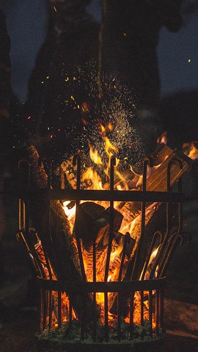 Wintertuin met vuurkorf
