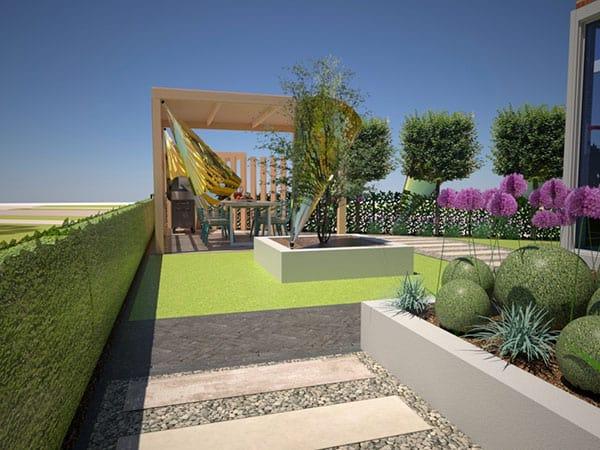 3D tuinontwerp met houtbouw, borders, bestrating en gazon